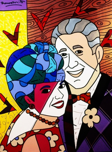 Range of Arts - Romero Britto - Original Portraits Paintings - All About Love