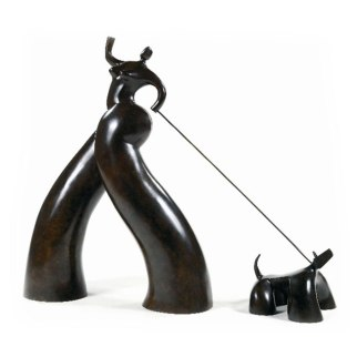 lolek sculptor french young emerging artist bronze honfleur dogs cats curves humor