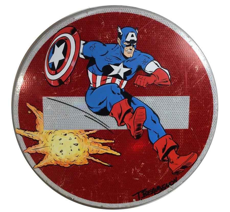 thierry beaudenon art panneaux road sign painting super heroes honfleur pop lichtenstein