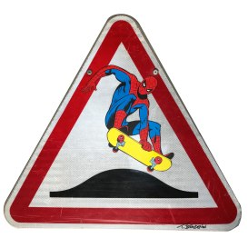 thierry beaudenon art panneaux road sign painting super heroes honfleur pop lichtenstein